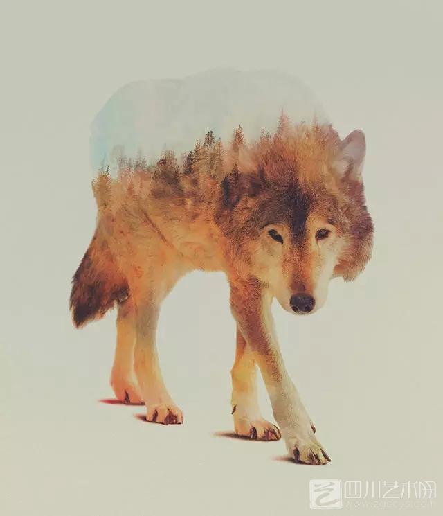 双重曝光创意摄影 , 每一只动物都是一篇森林