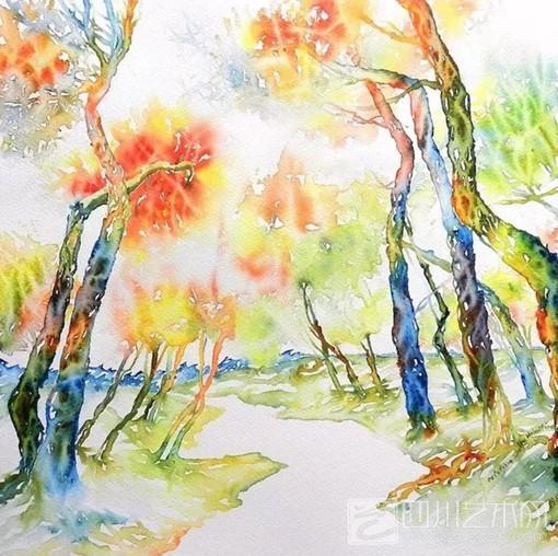 色彩斑斓的树林水彩画
