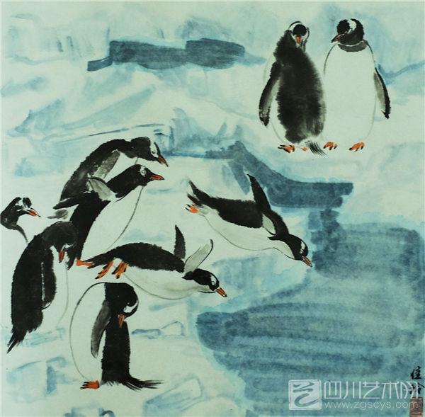 壁纸 动物 国画 企鹅 600_589