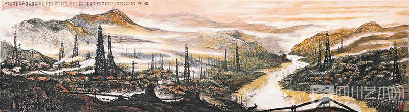 曹念    《古盐都圣迹图》    原作400×70 cm    纸本水墨